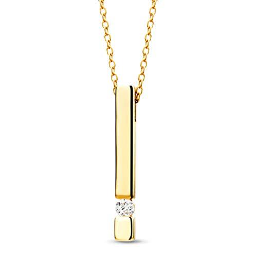 Orovi Damen Diamant Kette Gelbgold, Halskette mit Anhänger Stab und Solitär Diamant 9 Karat (375) Gold und Diamant Brillanten 0.07 Ct, 42 cm lang