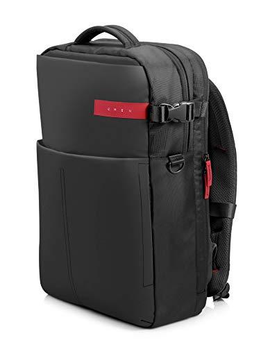 """HP OMEN - Mochila para portátiles gaming de hasta 17.3"""" (bolsillos internos, malla ajustable, espalda acolchada), color negro y rojo"""