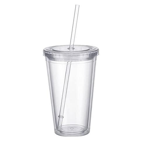1 vaso de té de doble pared para hielo y bebidas frías de café, zumo de té, taza de batido de viaje con paja de plástico reutilizable helado