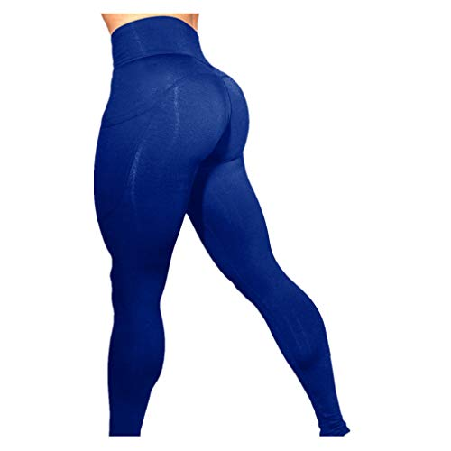 Dorical Damen Hohe Taille Mode Workout Leggings Fitness Sport Gym Jogging Yoga Sporthose (Z001-Blau, X-Large)
