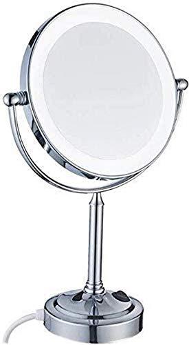 FACAIA Espejo de tocador cosmético LED Espejo cosmético de 8 Pulgadas Lámpara de Escritorio de Doble Cara Espejo de Aumento 7X Espejo de Maquillaje Iluminado