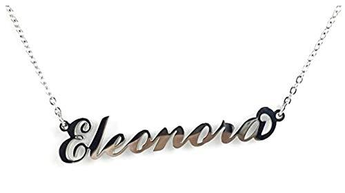 BENNY2000 Collana Donna con Nome in Acciaio, in CORSIVO Elegante, Girocollo Regolabile Anallergico Color Argento- Arriva con Sacchetto Regalo (Elisabetta)