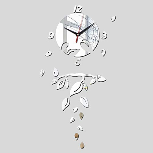JKCKHA Espejo etiqueta de la pared for la decoración del hogar, de acrílico etiqueta de la pared 3d espejo pegatinas decoración del hogar de la mariposa del caballo, Europa, Reloj grande de la pared d