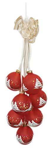 Ingbertson Glaskugelgehänge 16.097.75 Leuchtgehänge elektrisch beleuchtet Glaskugelschmuck Advent Weihnachten Dekoration Made in Germany (rot, 7-teilig)