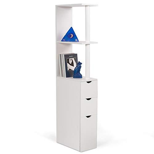 ProBache - Meuble WC étagère bois 3 portes blanc gain de place pour toilettes