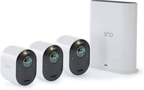 Arlo Ultra 4K HDR | Caméra de surveillance wifi sans fils. Grand Angle 180° Spot intégré, vision nocture colorée. Étanche. Rechargeable. Abonnement gratuit 1 an. Pack de 3 caméras(VMS5340)