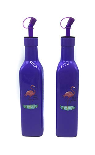 Desconocido Juego de Aceitera y Vinagrera de Cristal con Colores Paradisiacos (Morado Flamenco, 280 ml)