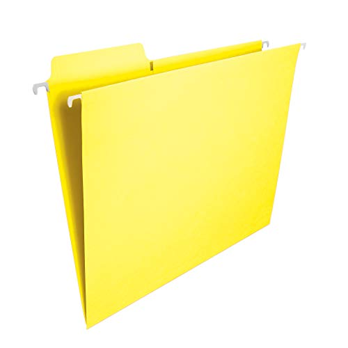 Smead FasTab Hanging File Folder, 1/3-Cut Built-in Tab, Letter Size, Yellow, 20 per Box (64097)
