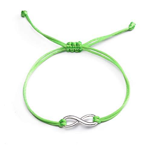 PmseK - Bracciale alla moda, con simbolo della guarigione e dei colori, per donne in Couple Silver Color Alloy Charm Lucky Red String Bracelets Jewelry Light Green