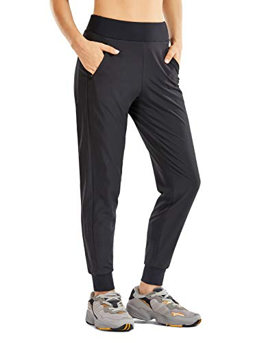 CRZ YOGA Women's Double Layer Jogger Sweatpants with Zipper Pockets Warm Stretchy Comfy Lounge Pants Elastic Waist Black Large
