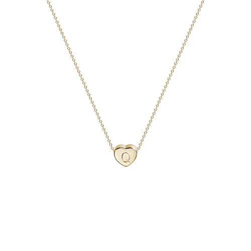Tiny Gold Initial Heart Necklace-14K Gold Filled Handmade Dainty Personalized Letter Heart Choker Necklace Gift for Women Kids Child Alphabet Necklace Jewelry (Q)