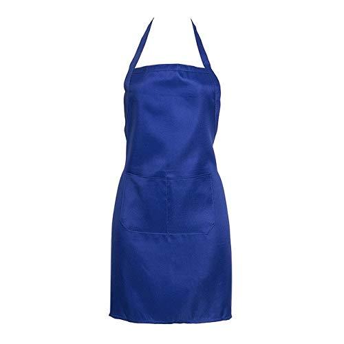 MAWA Delantal sin Mangas de Mezcla de algodón Grueso Anti-Desgaste Cocina Cocina Babero Mujeres Hombres Delantales con Bolsillo - Azul