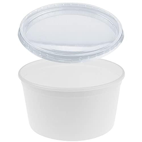 TELEVASO - 50 uds - Envase Recipiente Redondo para Comida + Tapa separada - Capacidad 450...