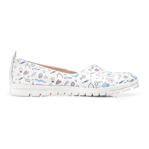 DrSoftStep Damen Schuhe | Medizinische Ballerinas | 38 | Weiße Leder | Dr Paramedic