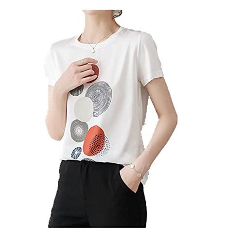 N\P Camiseta de verano para mujer casual de manga corta impresa camiseta superior inferior