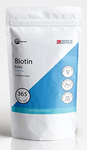 Niikam Biotin Hair Growth Tablets 10,000mcg, Supplement for Hair Growth of Healthy Skin & Nails, 365 Tablets, 1-Year Supply - UK Made & Vegan