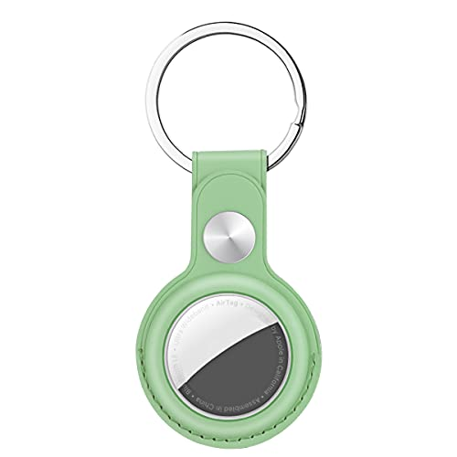 AICase custodia protettiva in pelle ad anello compatibile con il nuovo AirTag 2021, copertura antigraffio con portachiavi/anello portachiavi per animali domestici, cani, portafoglio e bagagli