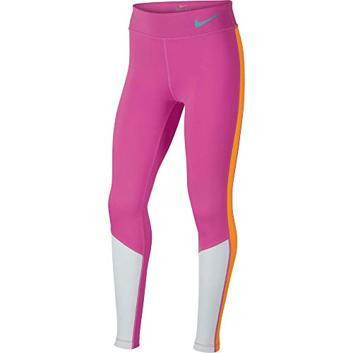 Nike Mädchen Trophy Colorblock Tights, Vivid Pink/Pure Platinum/Caban, M