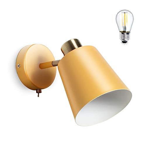MantoLite Lámparas de Pared E27 Lámparas de Lectura de Noche Junto a La Cama Con Interruptor Pantalla de Cono Aplique de Iluminación Para Sala de Estar y Dormitorio (Amarillo, Bombilla Incluida)