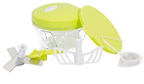 Picador de cebollas Cortador de verduras Licuadora manual 3cuchillas 500ml Frutas manual Dados con cuerda nogal Molinillo Grinder