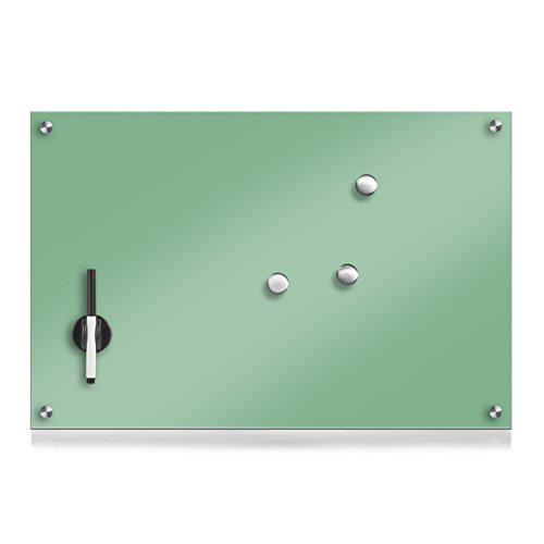Zeller 11651 - Pizarra de Madera, Cristal, Fieltro, Verde Menta, 60 x 40 cm