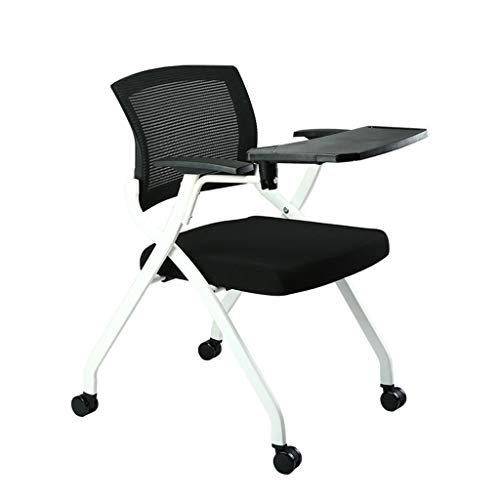 QMMD Folding Chair Training Table,Tablet Arm Chair,Writing Board Office Chair,Conference Chair.For Office School Classroom Training Conference Waiting Room,Black