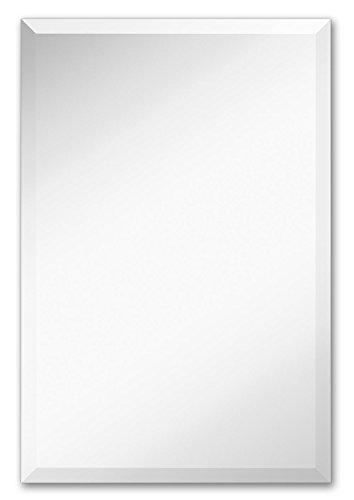 Hamilton Hills Large Simple Rectangular Streamlined 1 Inch Beveled Wall Mirror Premium -