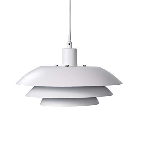 Dyberg Larsen DL 31 Pendelleuchte skandinavisches Design Pendellampe / Moderne Deckenlampe Mattweiß / Esstischlampe Weiß Durchmesser: 31 cm Höhe: 18 cm
