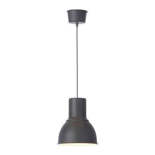 IKEA HEKTAR - Lámpara de techo (22 cm, acero), color gris oscuro y antracita gris
