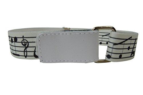 Olata Cinturón Elástico para los Niños/Niñas 1-6 Años, Hook y Loop Fijación con Impreso Diseño. Notas Musicales