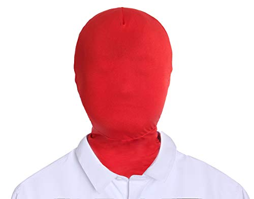 Adult Unisex Spandex Zentai Mask Full Head Cover Hood (Red)