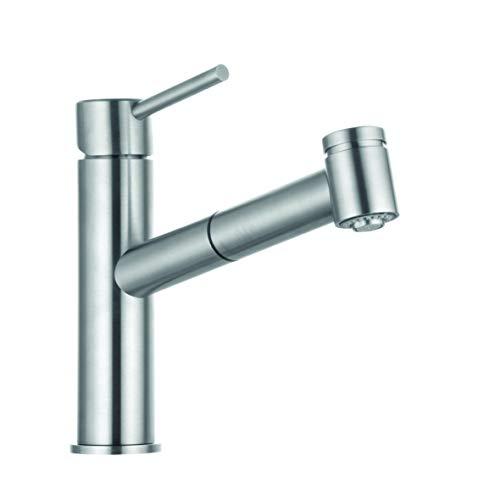 KLUDI STEEL Spültisch-Einhandmischer DN 15 mit herausziehbarer Geschirrbrause/Armatur/Küchenarmatur
