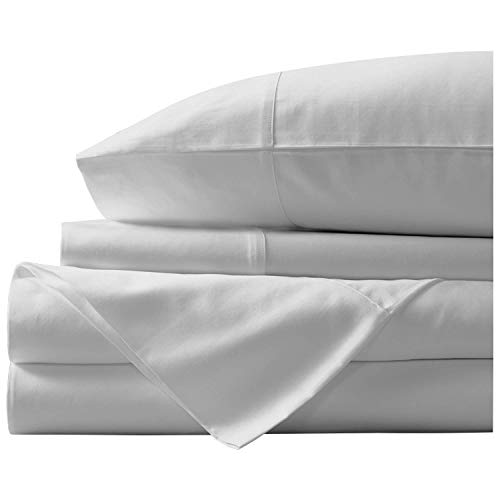 Paramount Dyeing Co. 100% Egyptian Cotton 4-Pc Sheet Set 1000 TC Premium Quality Luxurious Feel Italian Finish Bedding Set Fits Mattress Up to 18' Deep Pocket King Silver Grey