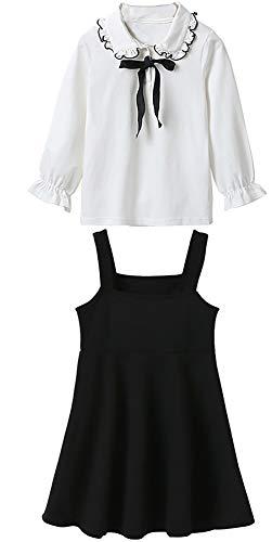 Vestido de Manga Larga para niñas Vestido de Dos Piezas de Primavera para niños Grandes y niñas Black- 140cm