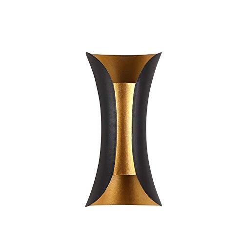 VISTANIA LED-Wandleuchte Innen Außen Modern Wandlampen Schwarz Gold Aluminium Aussenlampen Up Down Außenwandleuchte Wasserdichte IP44 Warmweiß Licht 10W,Black
