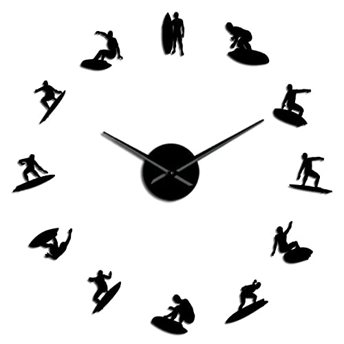 xinxin Reloj de Pared Perfil de surfistas Autoadhesivo 3D DIY Reloj de Pared Regalo para él Amante de los Deportes Extremos Atleta Océano Surf Efecto Espejo Reloj Reloj