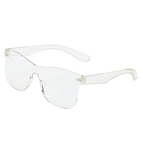 PrittUHU 2021 Gafas de Sol de una Pieza Mujeres/Hombres Lente Degradado Retro Espejo Rimless Sun Glasses Vintage Travel Eyewear UV400 (Lenses Color : Transparent)