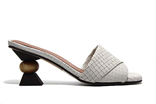 PEDRO MIRALLES - Sandalia de pala, tacón medio de aguja, trenzado, suela de goma, para: Mujer color: OFF talla:39