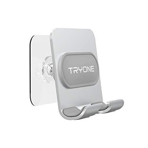 TRYONE 壁掛けデザイン スマホスタンド/タブレットスタンド 両用壁掛け スタンド 貼り付けシール2枚 強力粘着 貼り付け跡なし 耐荷重 落下防止 iPhone スタンド キッチン/玄関/浴室/洗面所/オフィス用 4〜8インチに対応 (iphone/ipad mini/Nintendo Switch/Huawei/Xperia/Galaxy/SONY/Kindle等多機種)