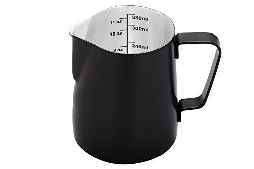 Espresso Milk Frothing Pitcher 12 Oz Black,Milk Frother Pitcher Small,Milk Frother Pitcher 12 Oz,Espresso Steaming Pitcher 12 Oz