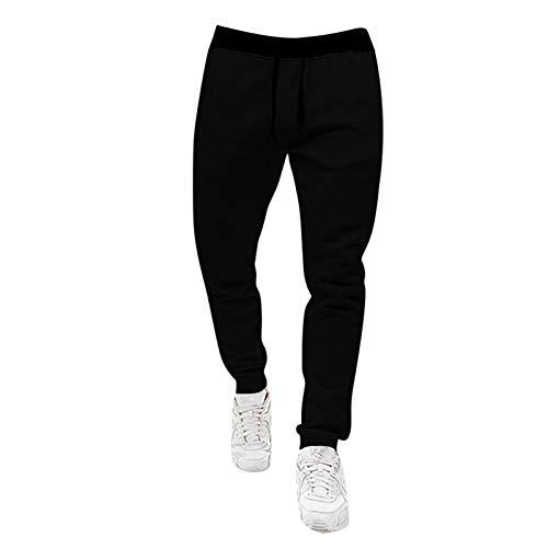 Loose Sweatpants for Men Elastic Rope Waist Solid Color Sports Pant Skinny Hip-Hop Casual Pants Size S-3Xl Black