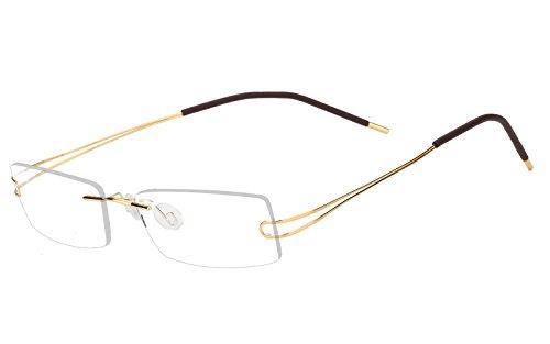 Agstum Pure Titanium Rimless Flexible Frame Optical Hingeless Eyeglasses (Gold, Customized / 52)