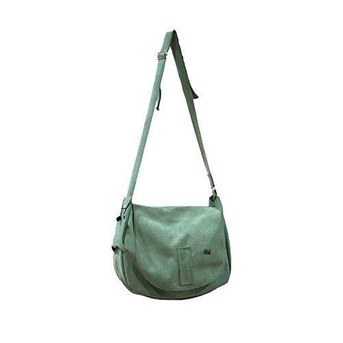 La Auténtica BAG3 - Bolso bandolera serraje afelpado verde mar