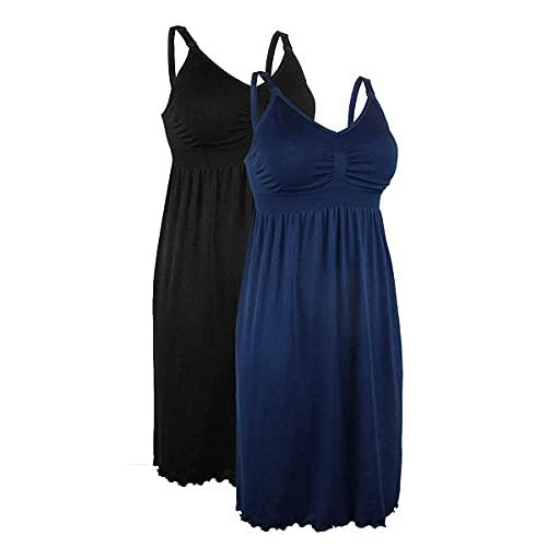 iloveSIA 2pack Women's Seamless Maternity Breastfeeding Nursing Dress with Build-in Bra Black/Blue Size L