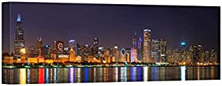 Easy Art Prints Panoramic Images's 'Chicago Skyline, Cubs World Series Lights, Lake Michigan, Chicago, Illinois' Canvas Art 36 x 12
