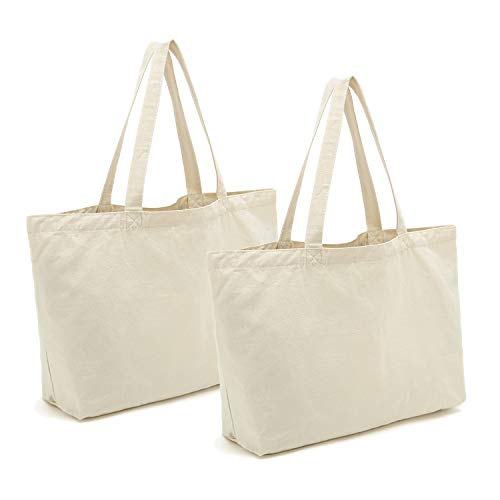 Cotton Canvas Tote Bags DIY Crafts Blank Plain Natural Canvas Bag,Great Wedding Gift Canvas Craft Bags,12.2'W x 13'H,2pcs