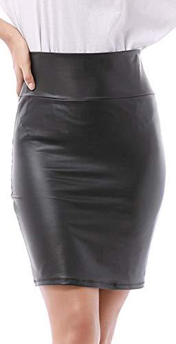 Falda de mujer hasta la rodilla, aspecto de piel