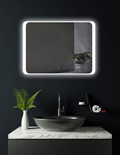 HOKO® LED Badspiegel Kiel im Querformat 80 x 60 cm mit integrierter Digital Uhr! Badezimmerspiegel Quer rundum LED beleuchtet, Energieklasse A+ (WEEE-Reg. Nr.: DE 40647673)