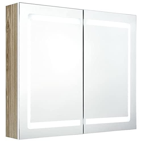Festnjght Armario con Espejo para Baño, Modulo con Espejo y Estantes, Acabado en Blanco y Roble, Medidas: 80x12x68 cm