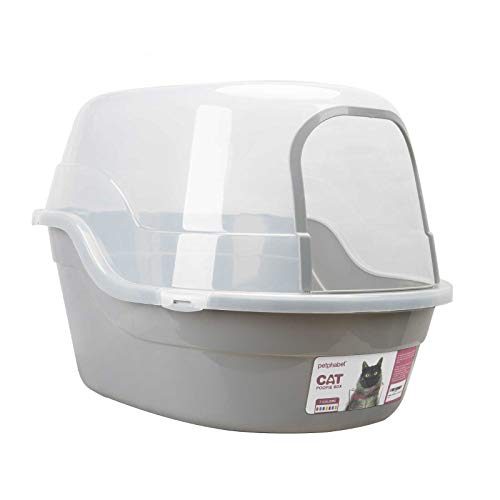 Petphabet Covered Litter Box, Jumbo Hooded Cat Litter Box Holds Up to Two Small Cats Simultaneously,Extra Large (Gray)